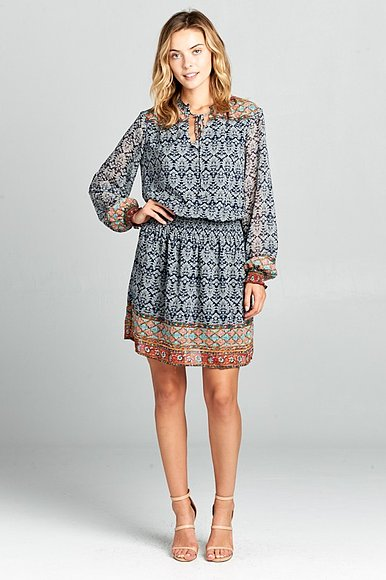 Long sleeve, boarder print dress with elastic waist