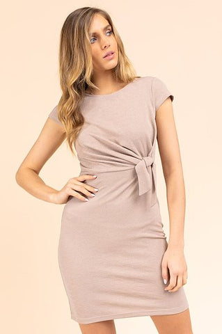 Tie-To-The-Side Fitted Dress in Nude