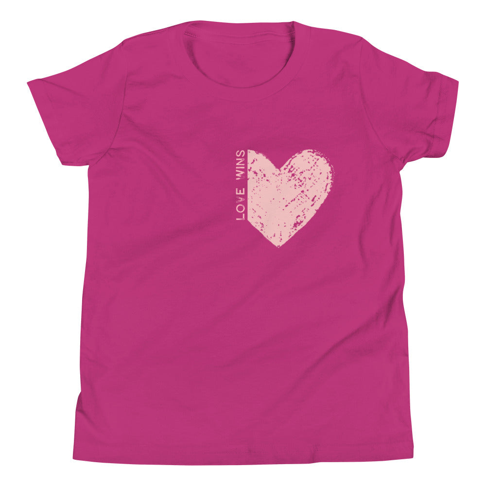 "PINK ""LOVE WINS"" HEART KIDS TEE"