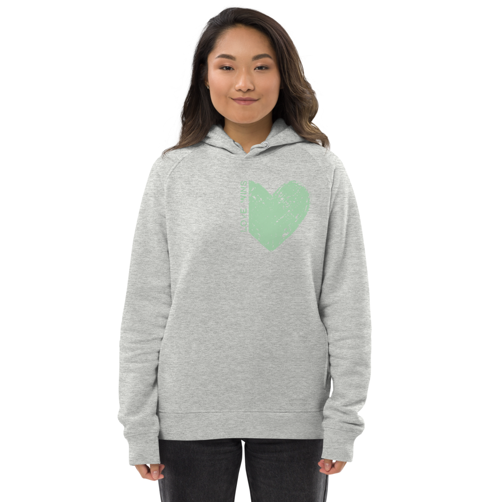"GREEN ""LOVE WINS"" HEART ORGANIC HOODIE"