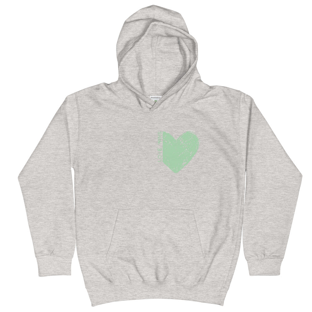 "GREEN ""LOVE WINS"" HEART KIDS HOODIE"