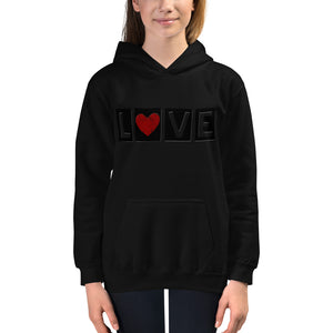 "DISCREET RED HEART ""LOVE"" KIDS HOODIE"
