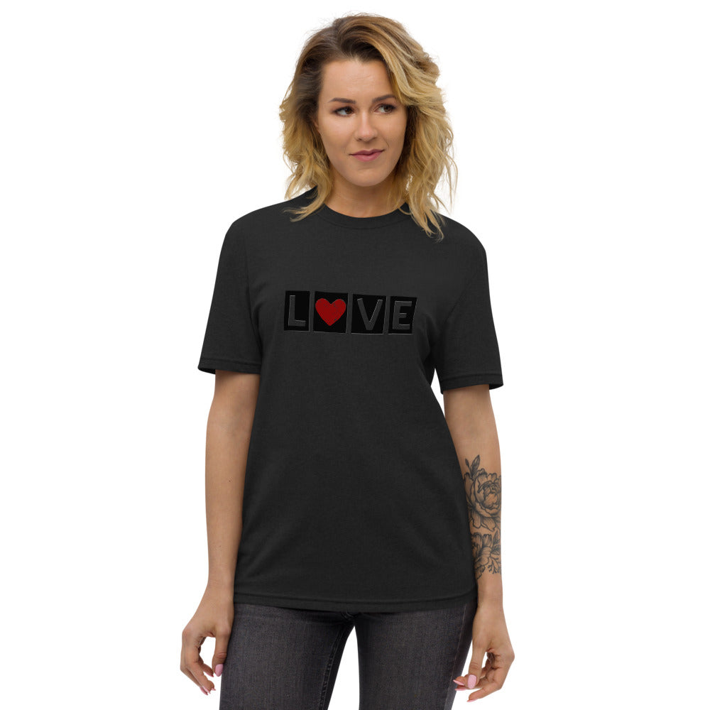 "DISCREET RED HEART ""LOVE"" RECYCLED TEE"
