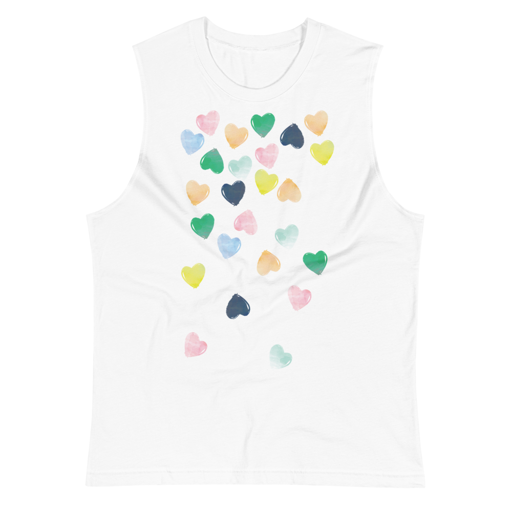 """WATERCOLOR CASCADING HEARTS"" MUSCLE TANK 