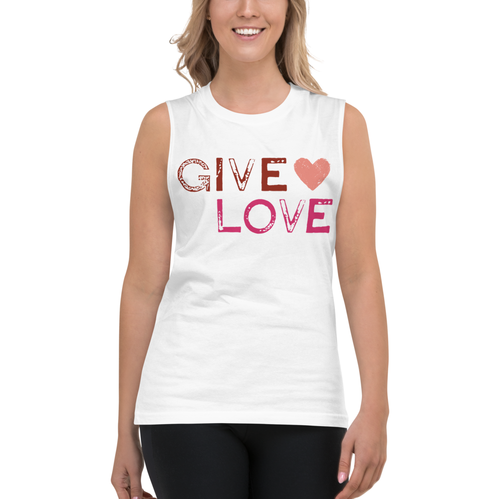 "PINK & RED ""GIVE LOVE"" STAMP MUSCLE TEE 