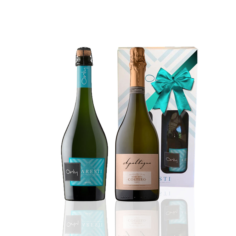 2 Pack Espumantes, Aresti Only Brut + Apaltagua Costero Extra Brut, 750cc