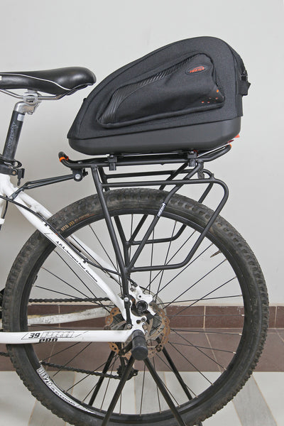 Multimount Bag mounted on a PakRak Touring Bike Carrier