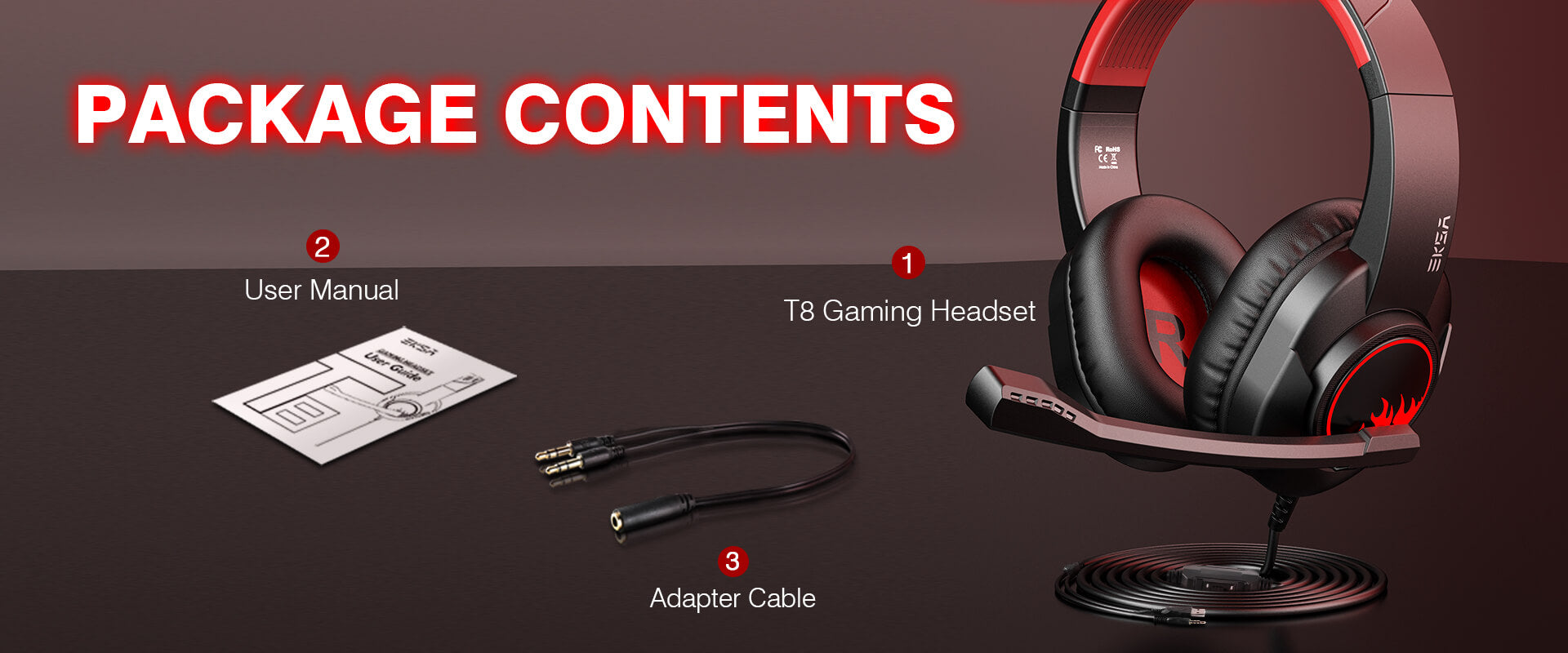 EKSA T8 Stereo Gaming Headset For PC, Mobile, PS4/PS5, XBOX