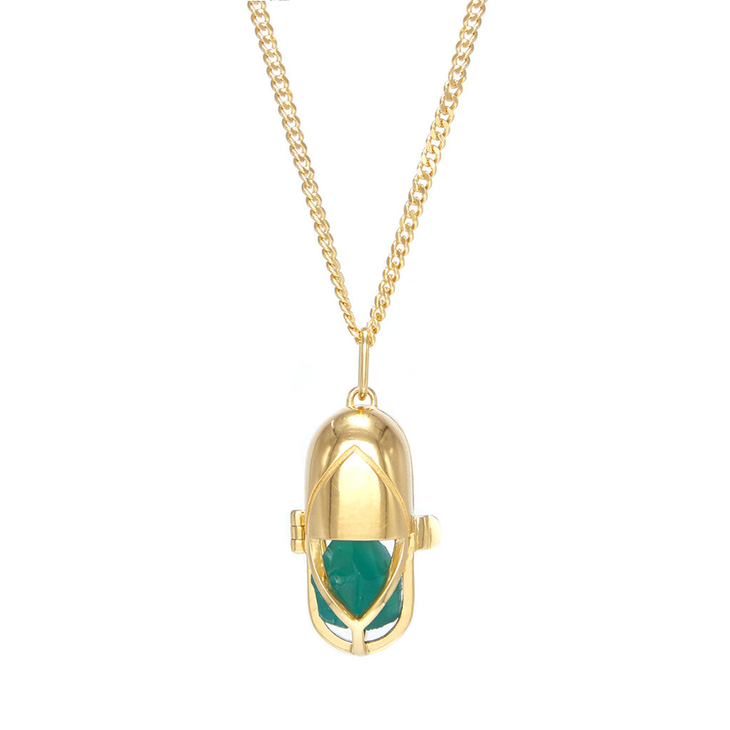 Capsule Crystal Pendant - Green Onyx, 24ct Gold-Plated Sterling Silver