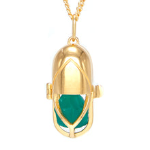 Load image into Gallery viewer, Capsule Crystal Pendant - Green Onyx, 24ct Gold-Plated Sterling Silver