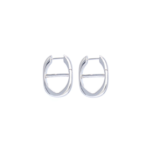 Chain Hoop Earrings - Silver