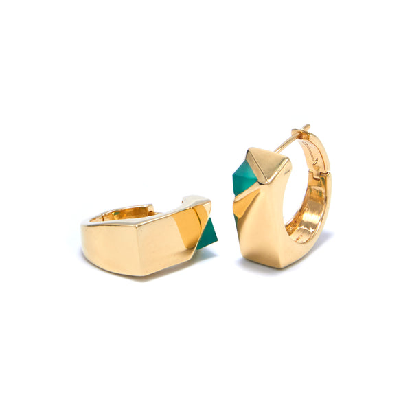 Jewel Beneath Signet Earring Pair - Green Onyx & 24ct Gold-Plated Sterling Silver