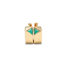 Load image into Gallery viewer, Jewel Beneath Signet Earring Pair - Green Onyx & 24ct Gold-Plated Sterling Silver