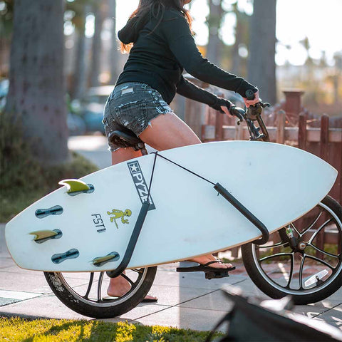Stay organized while on the go with an epic surf bike rack