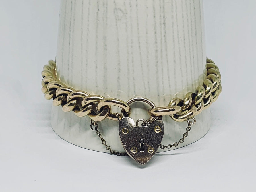 Hollow Curb Bracelet with Padlock