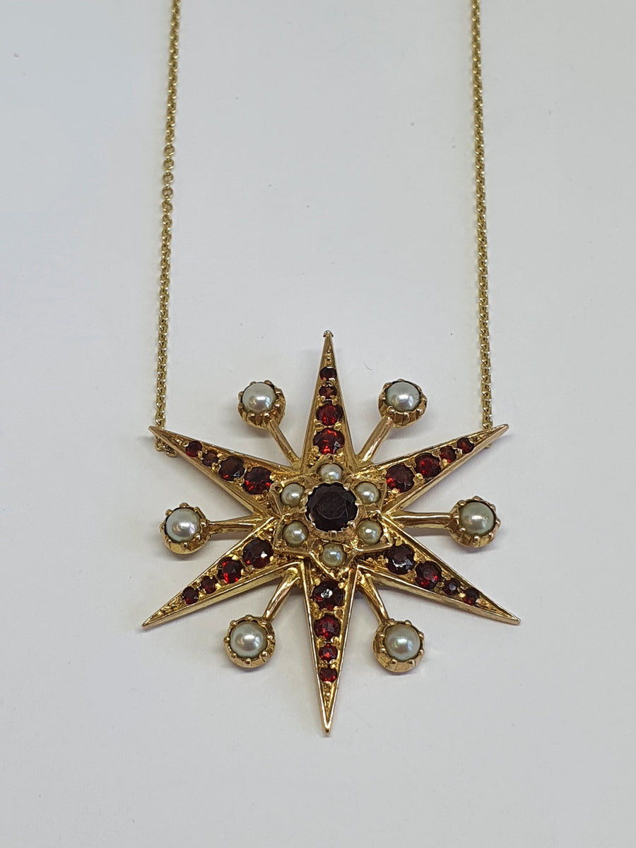 Victorian style Garnet and Pearl star necklace