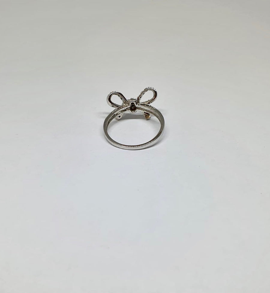 White Gold Diamond Set Bow Ring
