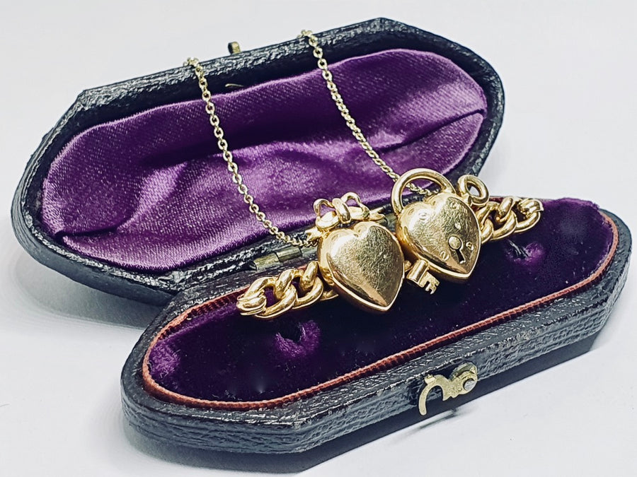 Victorian double heart necklace