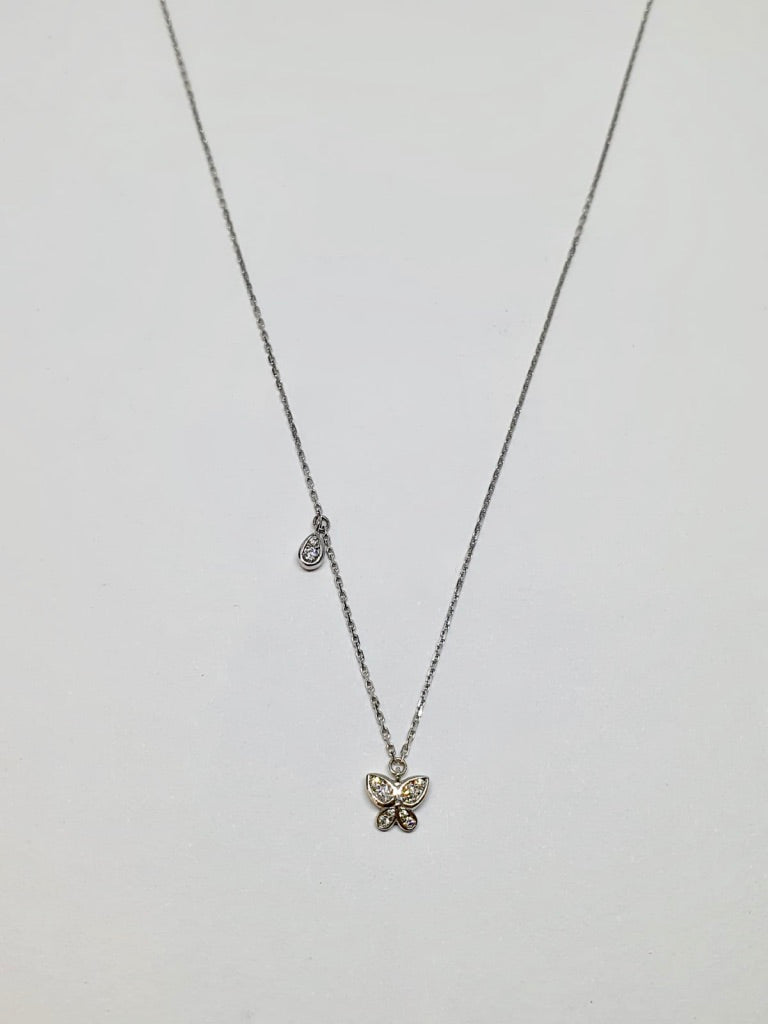 18 carat white gold Butterfly and Raindrop Necklace