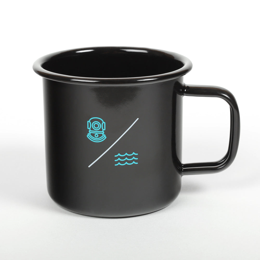 Load image into Gallery viewer, SIMPLE EQUATION ENAMEL 'CAMP' MUG | Black