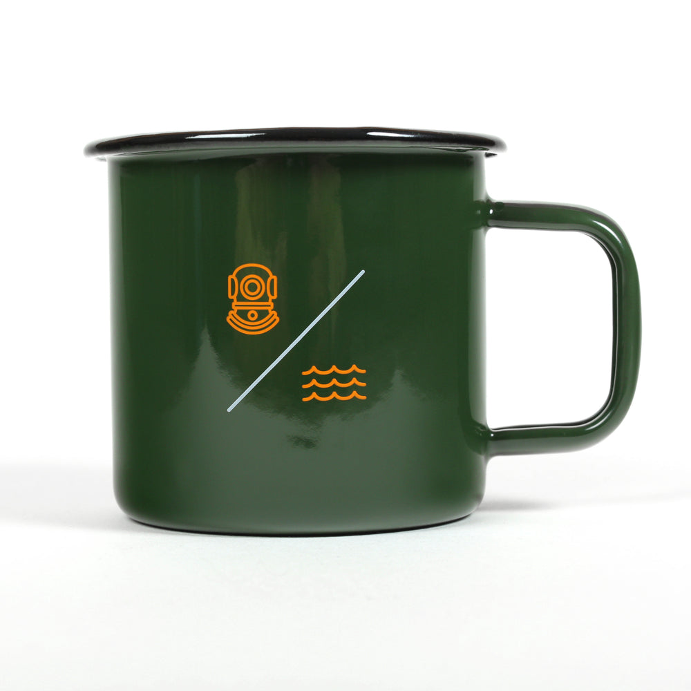 SIMPLE EQUATION ENAMEL 'CAMP' MUG | Green