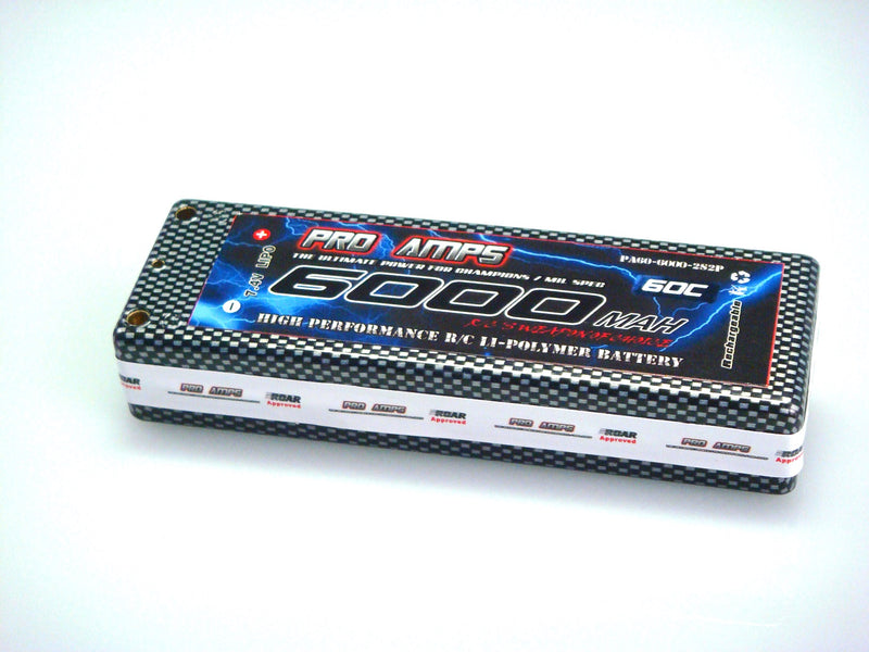 PRO AMPS - 7.4V 6000mah 2S 60c  Hard Case pack LiPo Battery (PA6060C2S13)