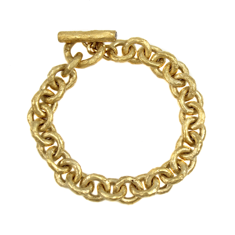 Ancient Cable Chain Bracelet with Crystal Toggle