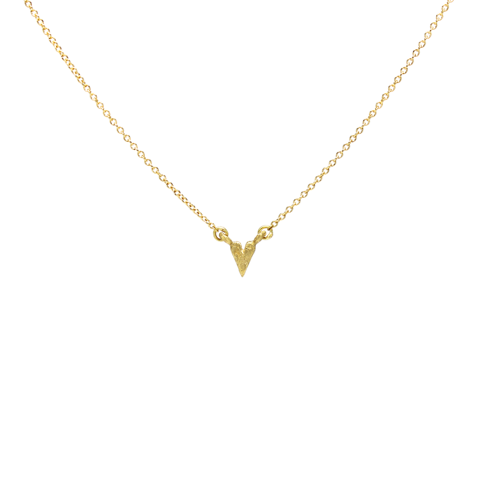 Mini Rocky Textured Heart Necklace - Solid 18K