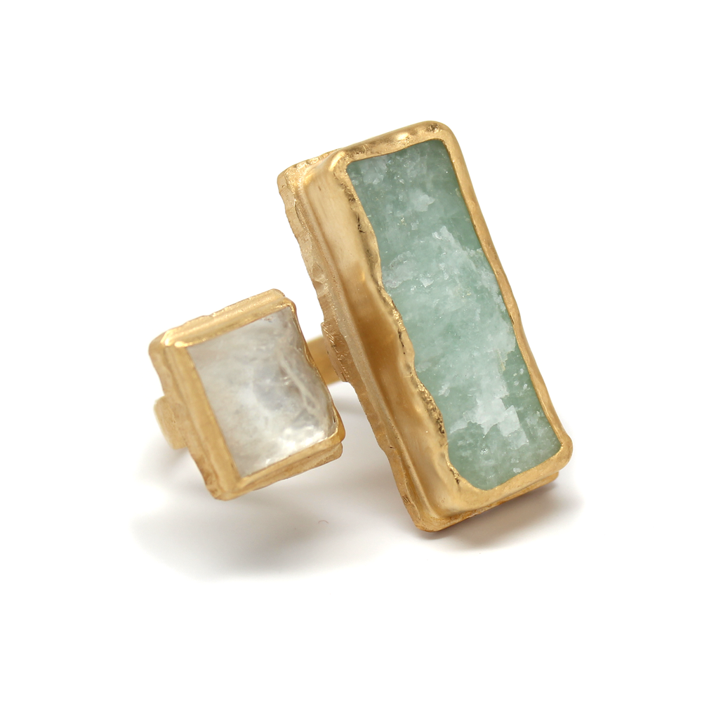 One-of-a-Kind Aquamarine & Crystal Statement Ring