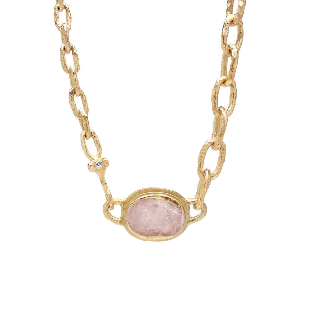 One-of-a-Kind Asymmetric Rose Quartz Necklace