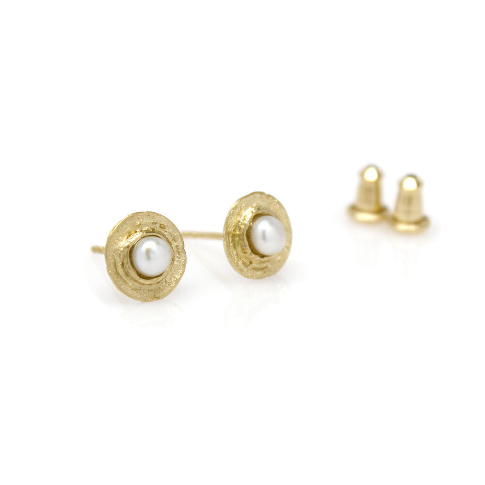Textured Mini Pearl Studs - Solid 18K