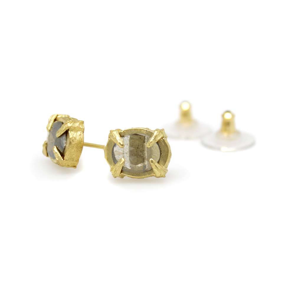 One-of-a-Kind Ridged Prong Diamond Studs - Solid 18K