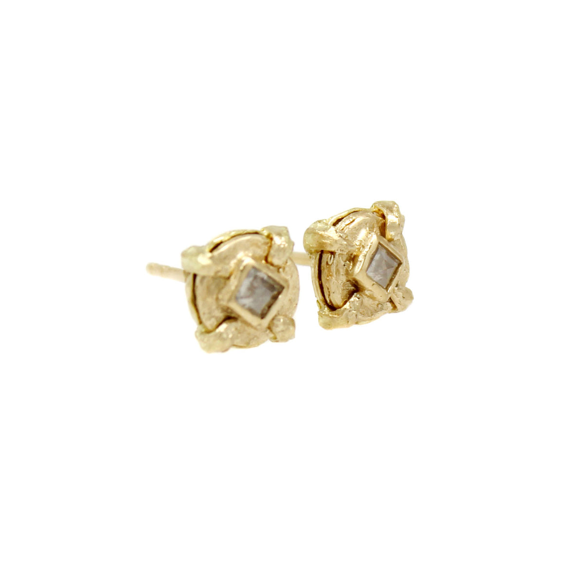 One-of-a-Kind Mini Square Diamond Studs - Solid 18K
