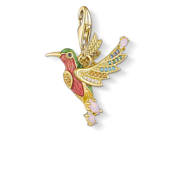 Thomas Sabo Charm Pendant Colourful Hummingbird Gold