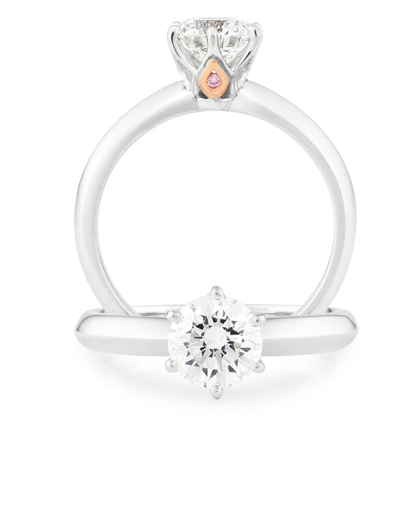 PINK CAVIAR 0.50ct White Round Brilliant Cut & Pink Diamond Engagement Ring in 18ct White Gold