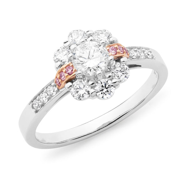 PINK CAVIAR 0.75ct White Round Brilliant & Pink Diamond Engagement Ring in 18ct White Gold