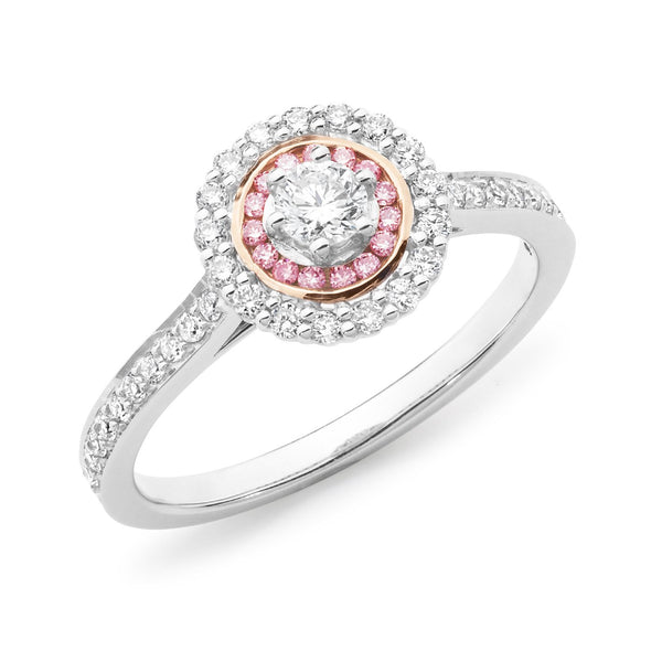 PINK CAVIAR 0.50ct Pink Diamond Round Brilliant Cut Halo Engagement Ring in 18ct White Gold