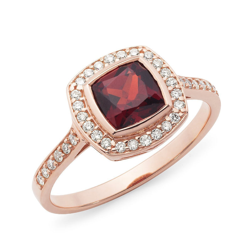 Garnet & Diamond Claw/Bead Set Dress Ring in 9ct Rose Gold