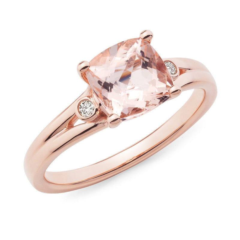 Morganite & Diamond Claw Set Dress Ring in 9ct Rose Gold