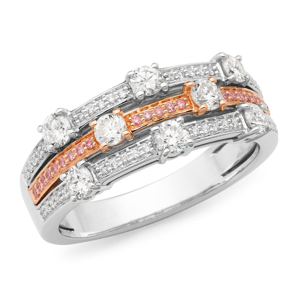PINK CAVIAR 0.955ct Pink Diamond Ring in 9ct Rose & White Gold