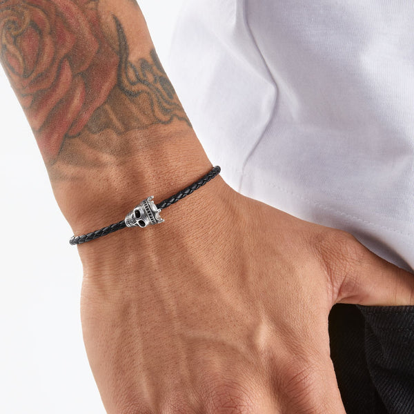 Thomas Sabo Leather Bracelet Skull