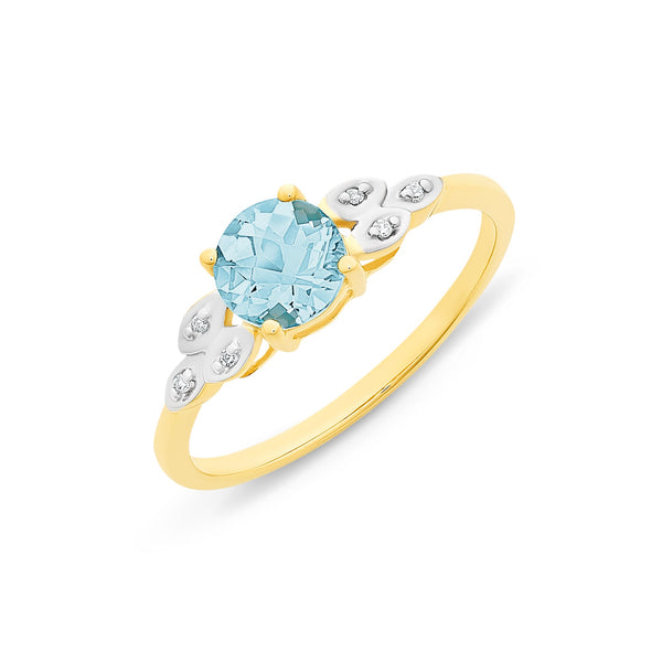 9Ct Gold Blue Topaz & Diamond Ring