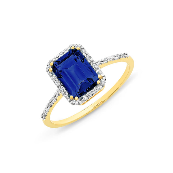 9Ct Gold Created Sapphire & Diamond Ring