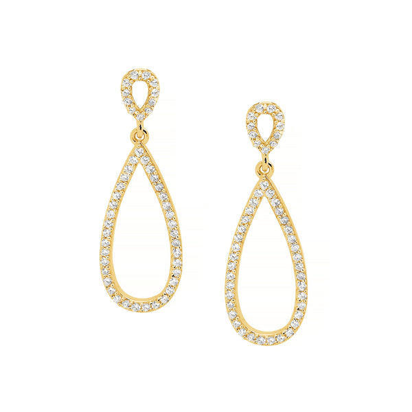 Gold Plated Sterling Silver Cubic Zirconia Drop Earrings