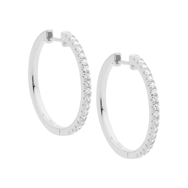 Sterling Silver Cubic Zirconia Hoop Earrings