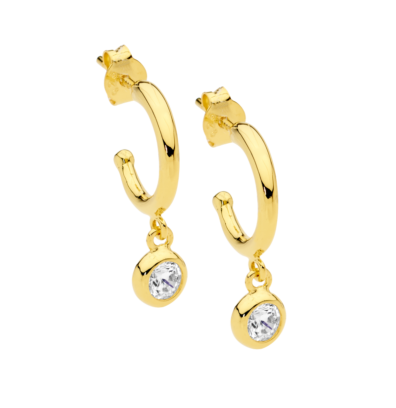 Gold Plated Sterling Silver Cubic Zirconia Hoop Earrings