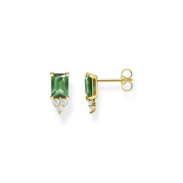 Thomas Sabo Ear Studs Green Stone Gold