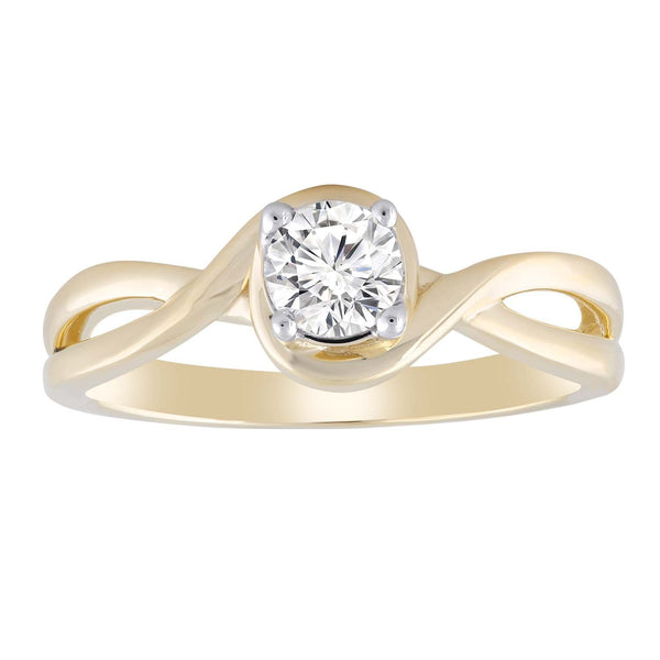 Ring with 0.4ct Diamond in 9K Yellow Gold