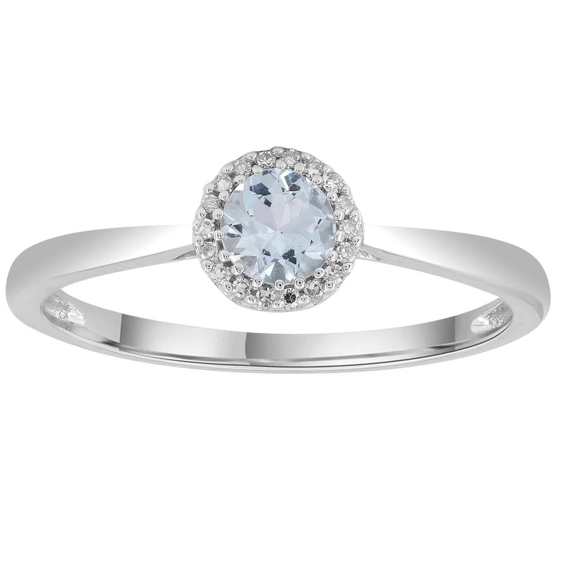 Aquamarine Ring with 0.05ct Diamonds in 9K White Gold