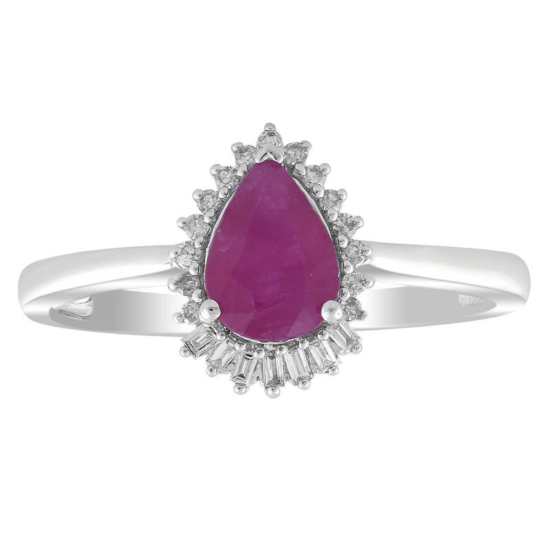 Pear Ruby Ring with 0.08ct Diamonds in 9K White Gold
